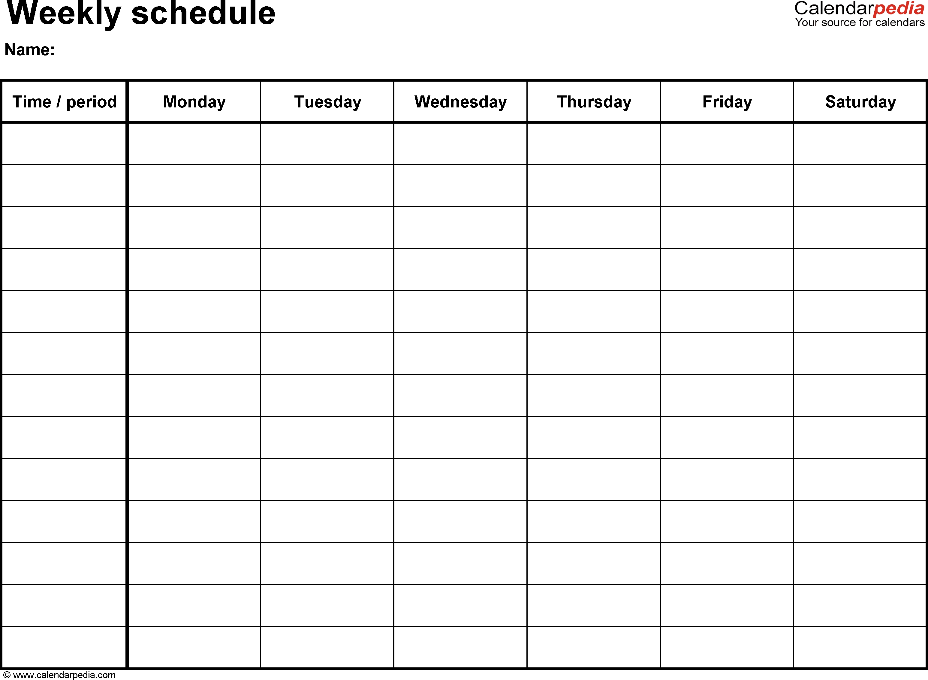 Free Weekly Schedule Templates For Word - 18 Templates_1 Week Calendar Blank