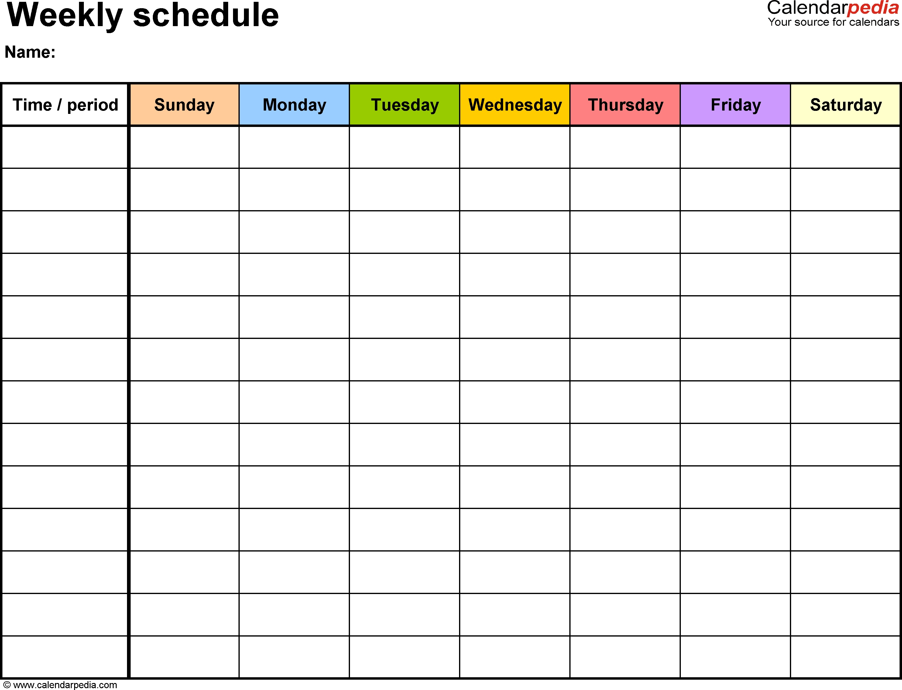 Free Weekly Schedule Templates For Word - 18 Templates_7 Day Calendar Blank