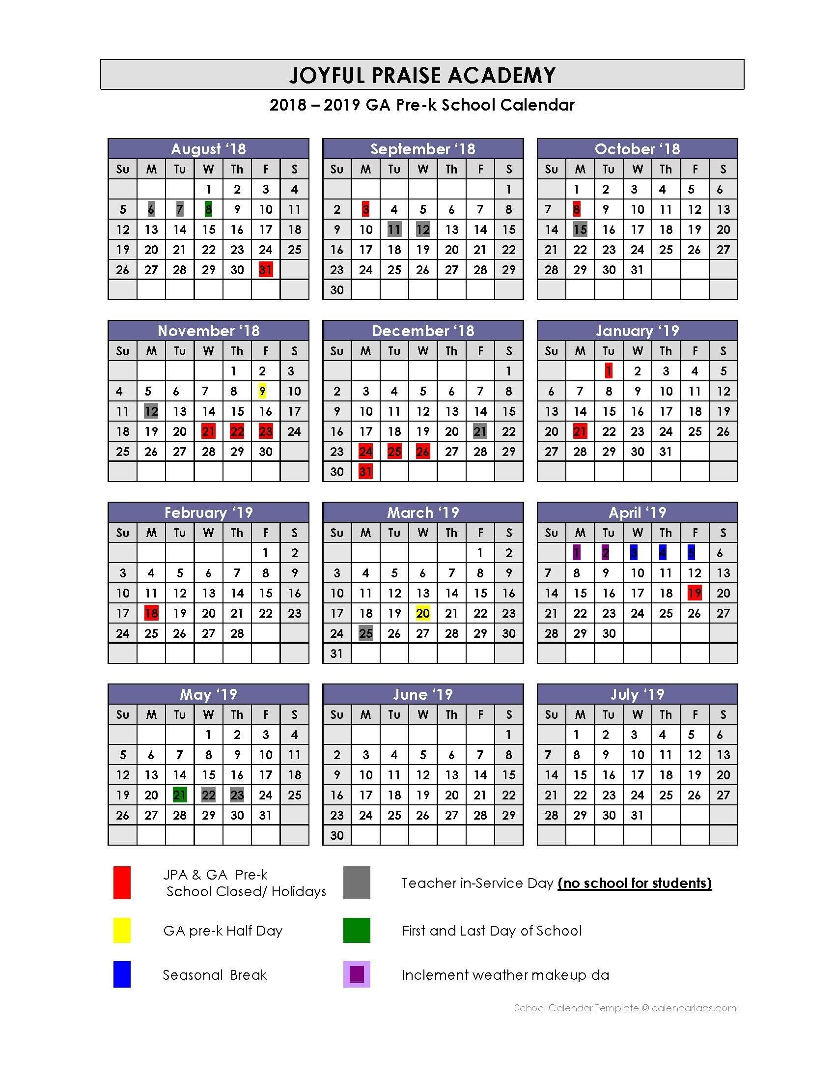 Ga Pre-K Calender 2018-2019 – Jpa Pre-K Class Of 2019_Pre K School Calendar