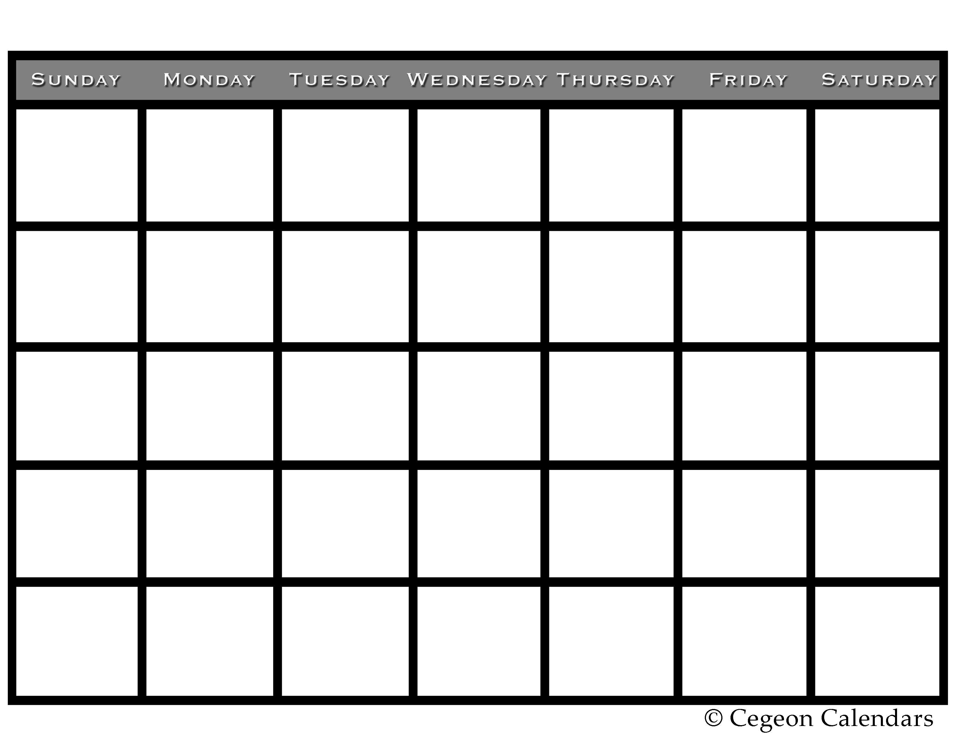 Get Your Free Printable Blank Calendar | Printables | Printable_Free Calendar Blanks To Print