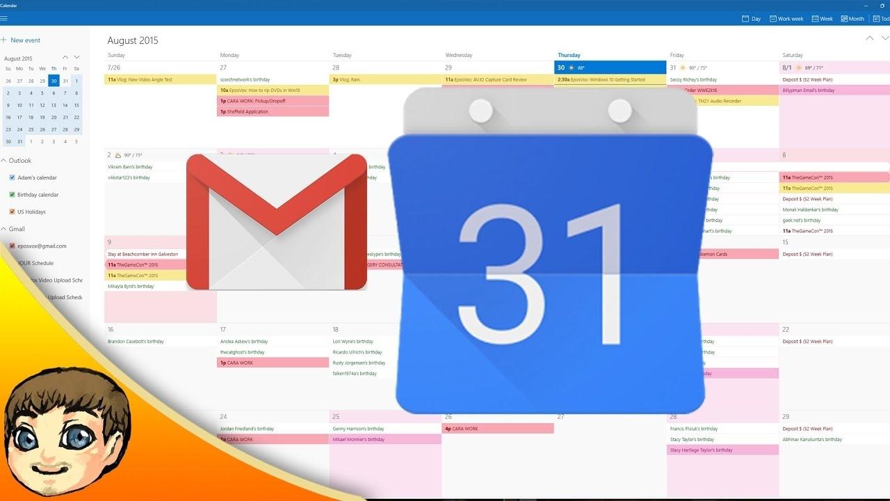 Google Calendar & Gmail Integration W/ Windows 10 | Windows 10 Tips_Calendar Icon Windows 10