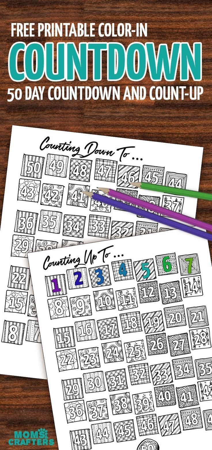 Grab This Fun Color-In Countdown And Progress Tracker | Coloring_Countdown Calendar 365 Days
