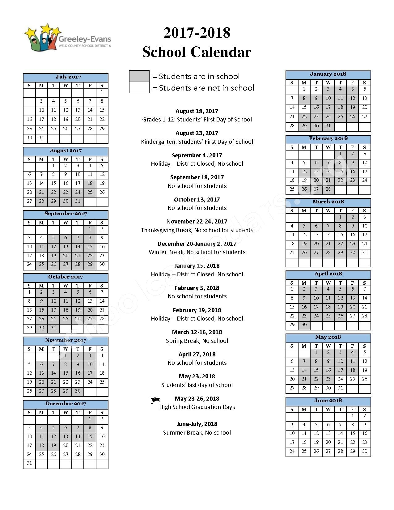 Greeley-Evans School District 6 Calendars – Greeley, Co_District 6 School Calendar