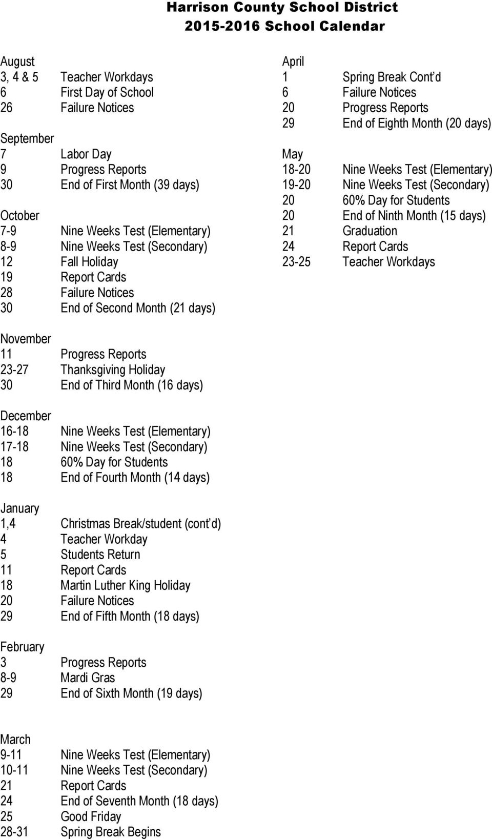Harrison County School District School Calendar - Pdf_D'iberville Middle School Calendar