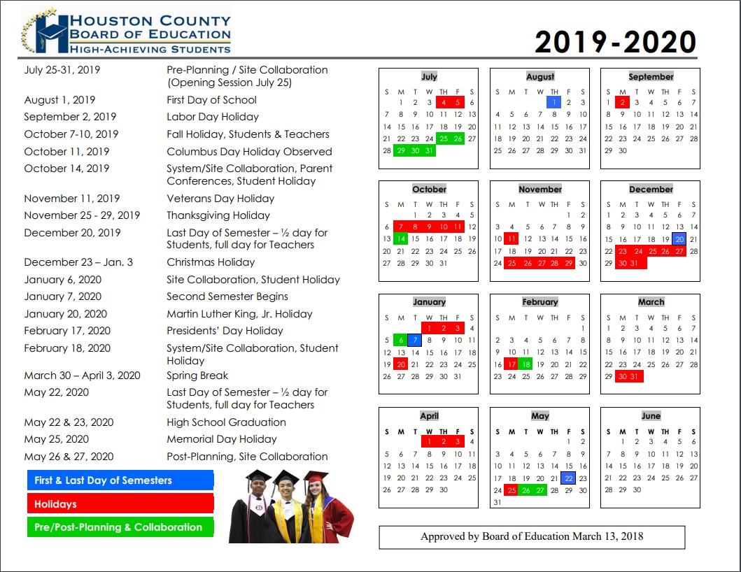 Hcboe Calendars | School Calendars | Houston County Schools_U Of H School Calendar 2020
