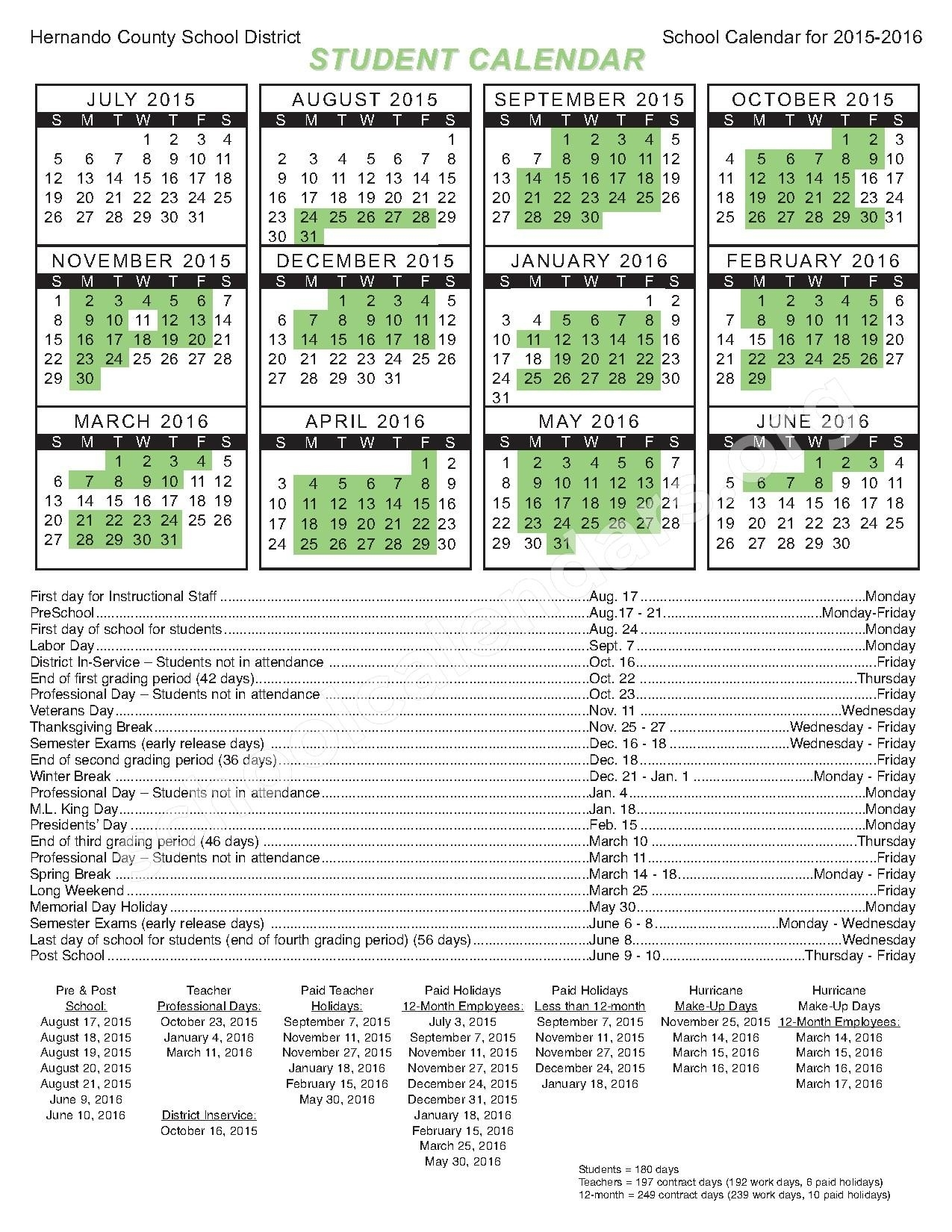 Hernando Country School Calender Related Keywords & Suggestions_School Calendar Hernando County
