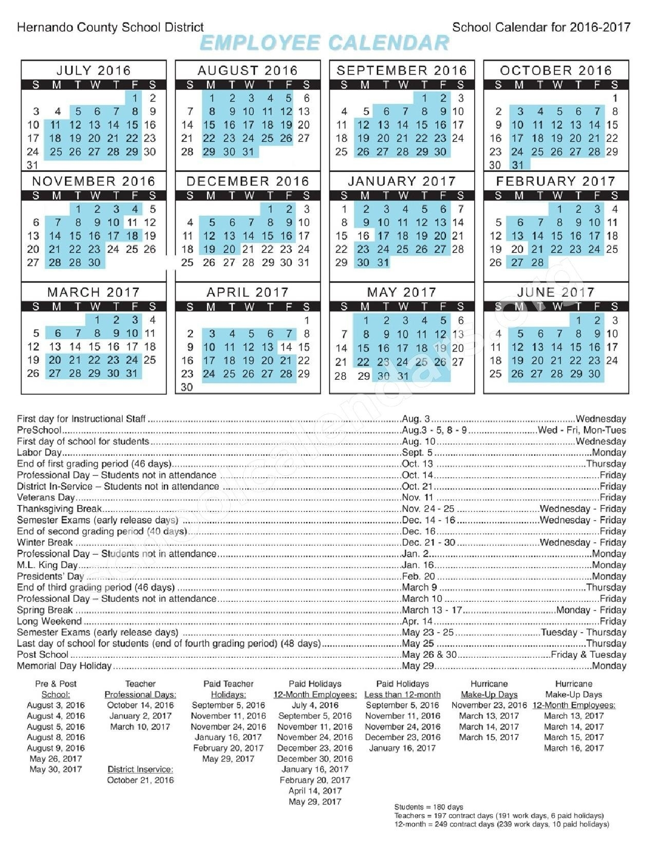 Hernando County 2018 School Calendar Printable For Free Of Cost_School Calendar Hernando County
