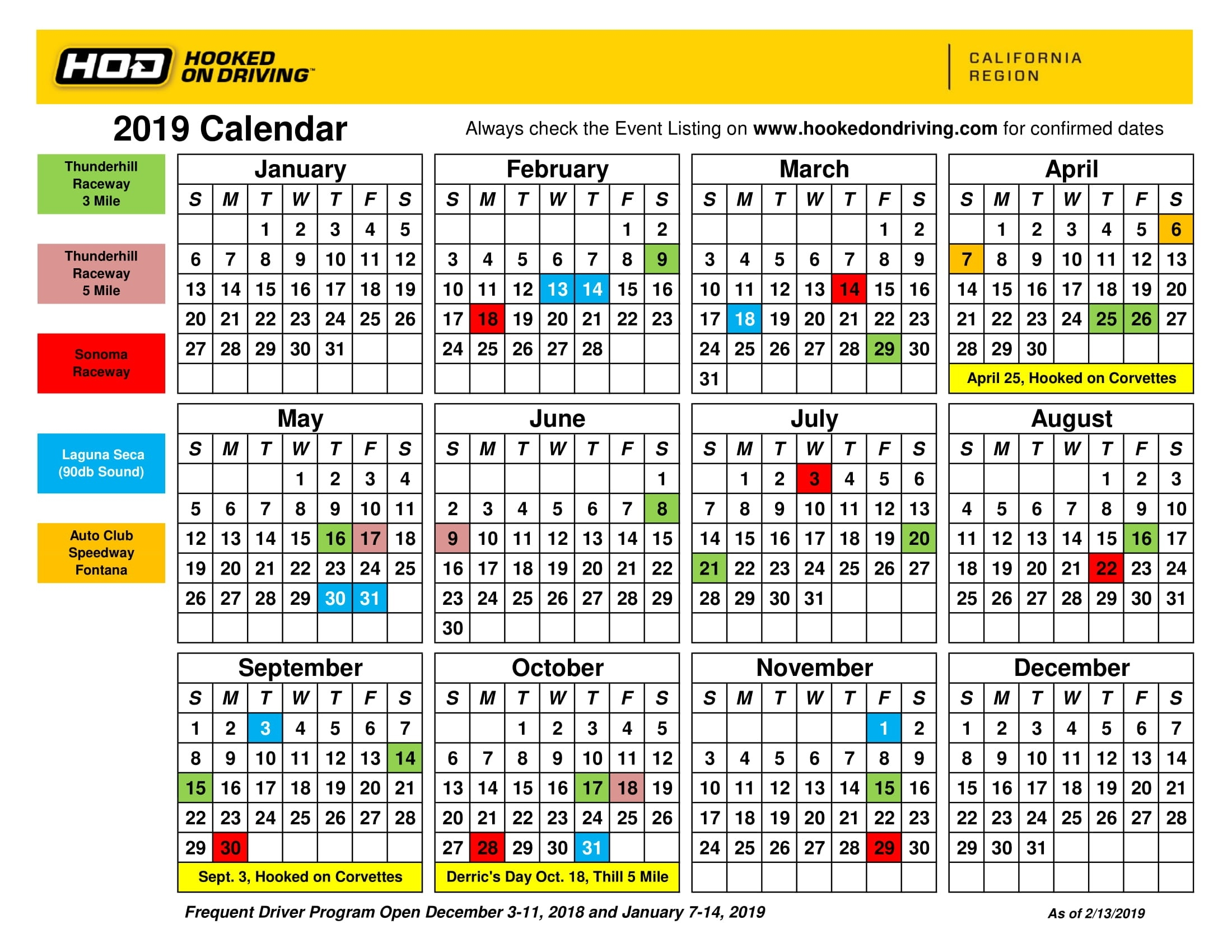 High Performance Driving Schools, Lessons, Driving Experience, Hpde_Region 1 School Calendar