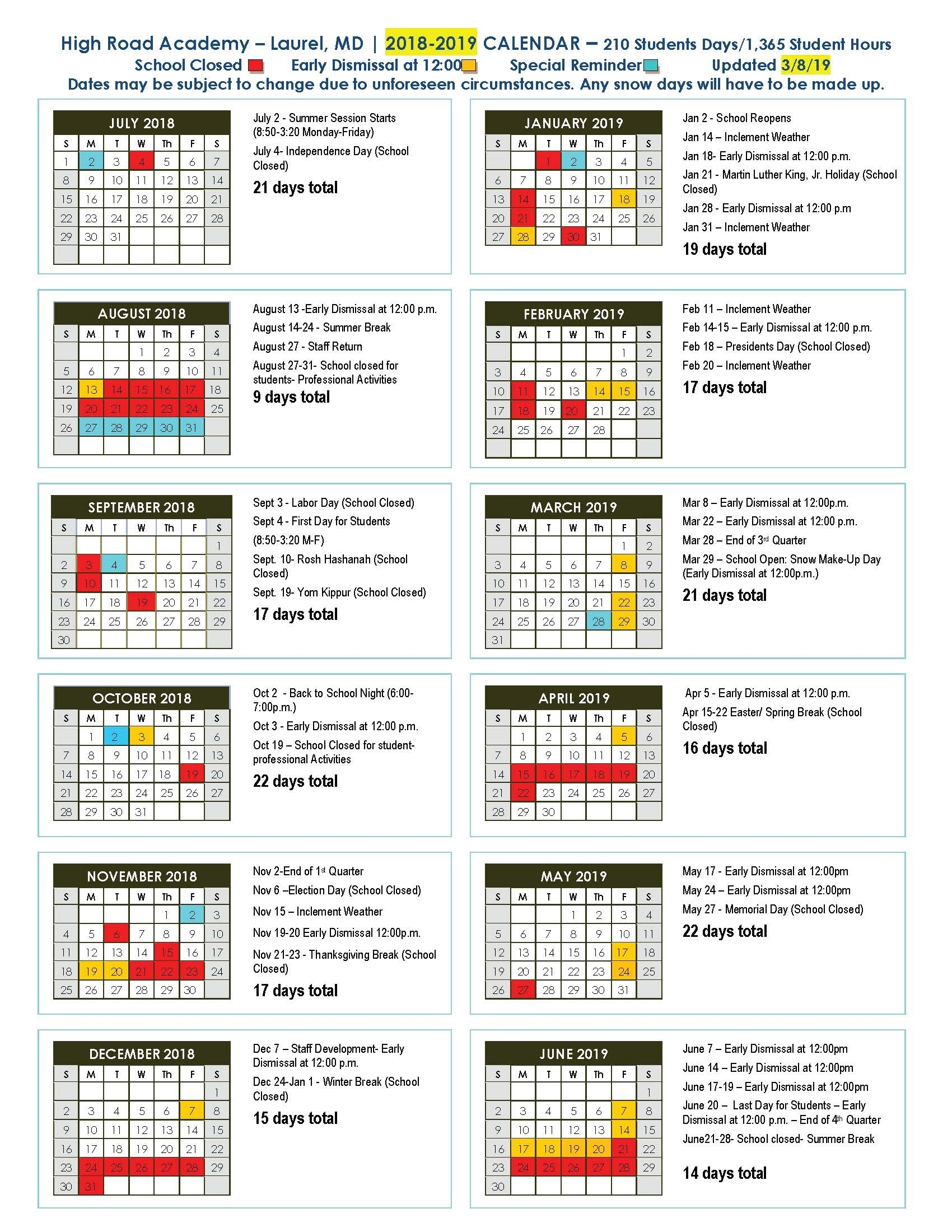 High Road Academy - Catapult Learning_School Calendar Rhode Island