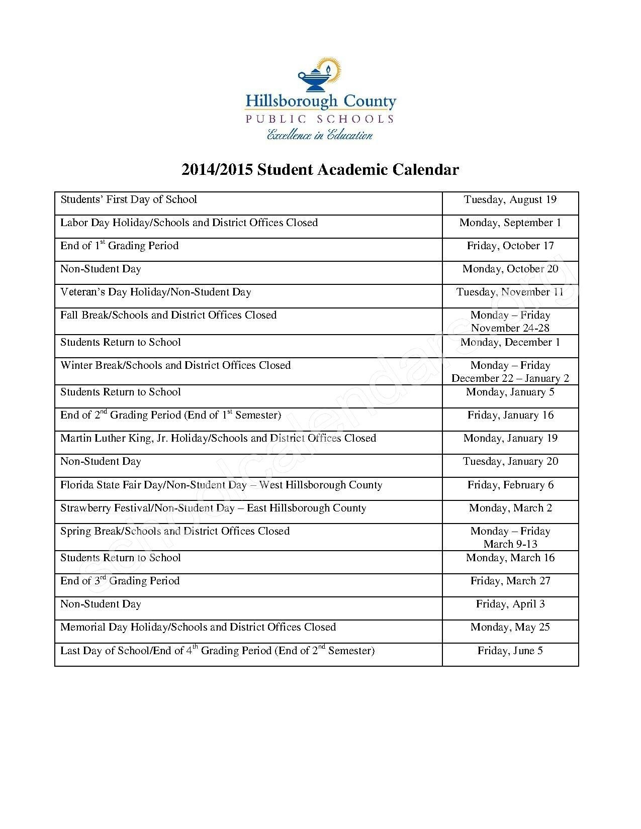 Hillsborough County School Calendar For 2018-19 | Isacl_Calendar School Hillsborough County