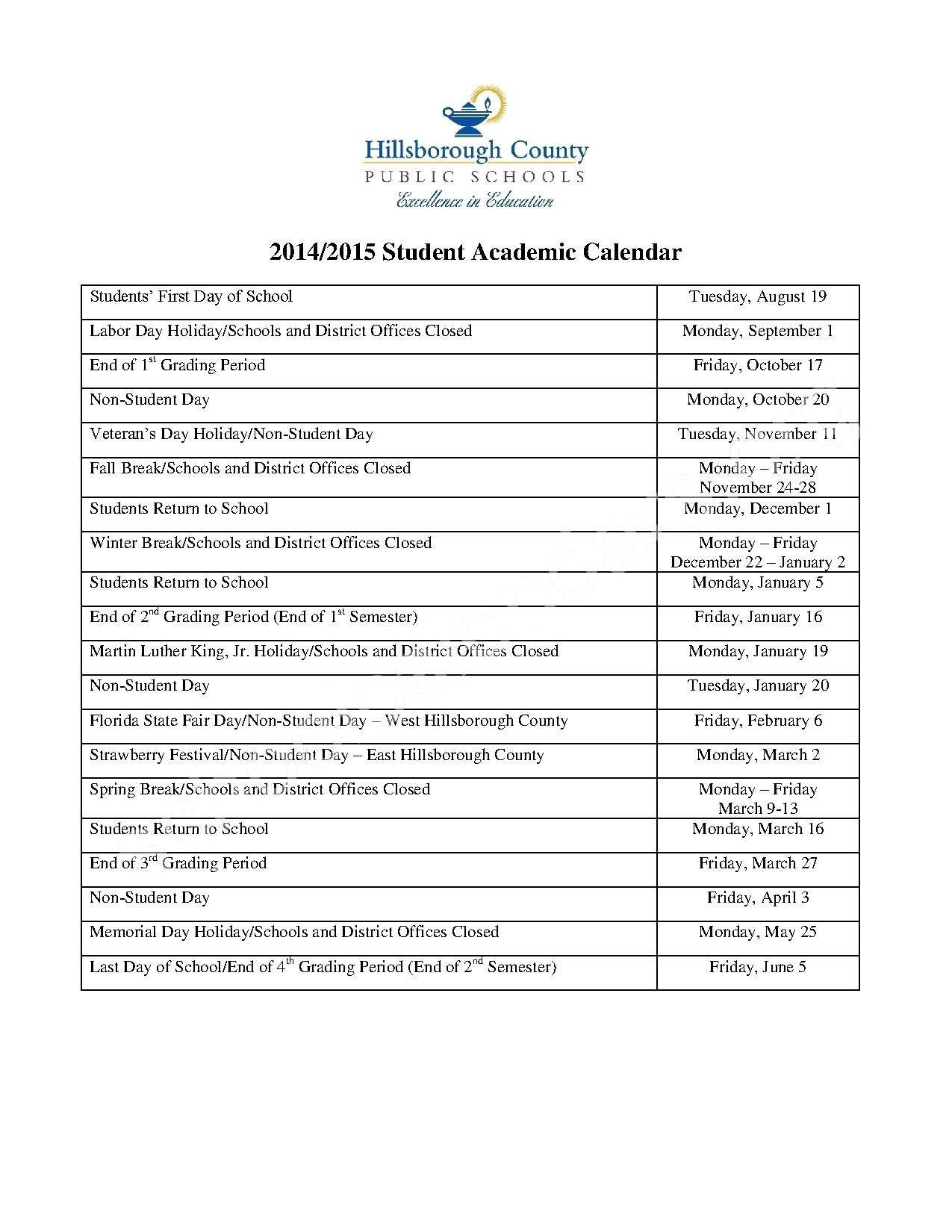 Hillsborough County Schools Calendar | Jcreview_Calendar School 2020 Hillsborough County