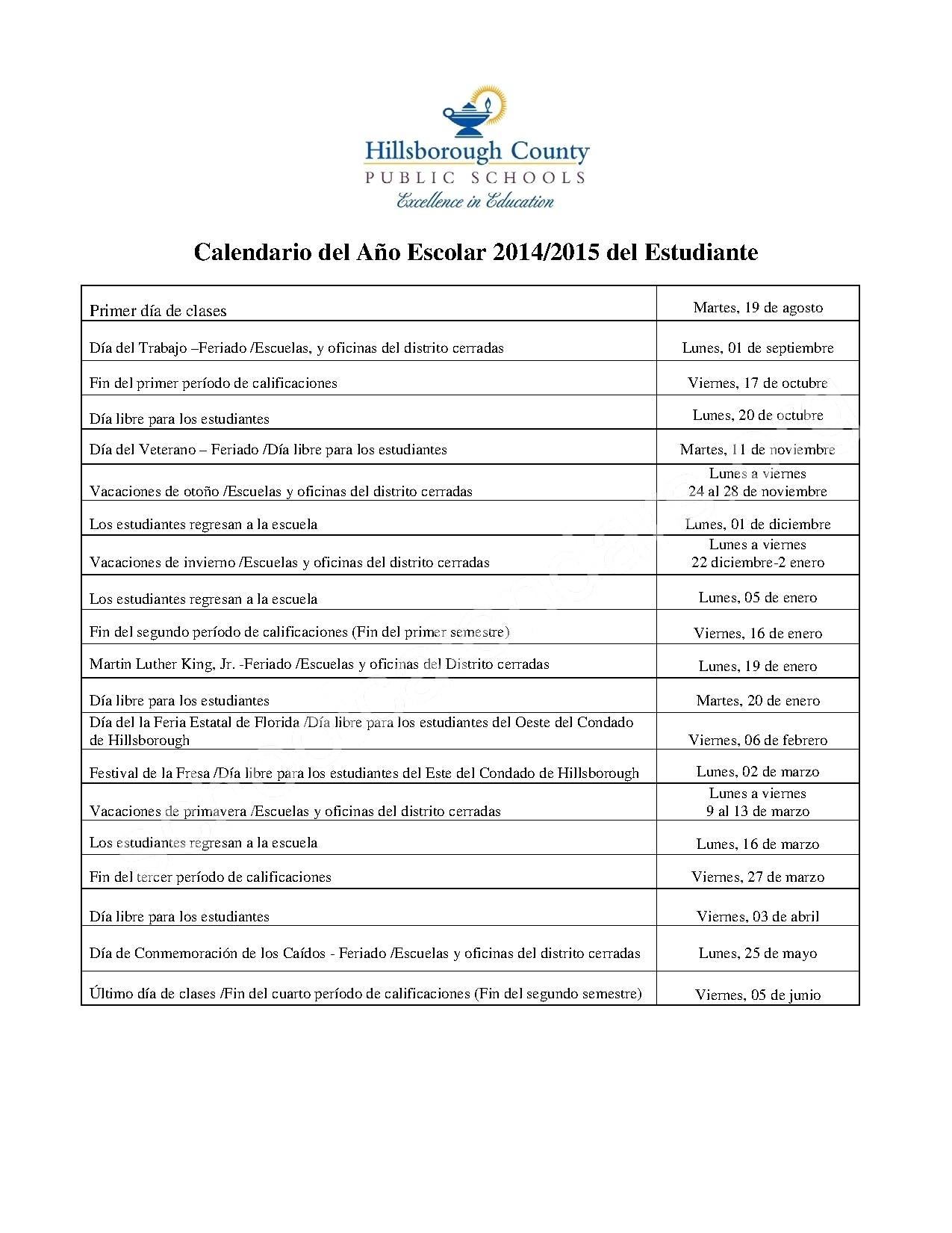 Hillsborough County Schools Calendar | Jcreview_Calendar School Hillsborough County