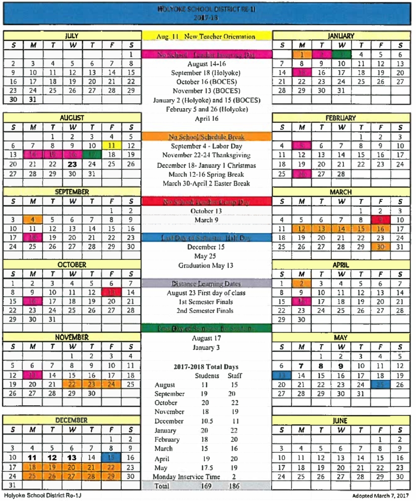 Holyoke School District_Boces 2 School Calendar