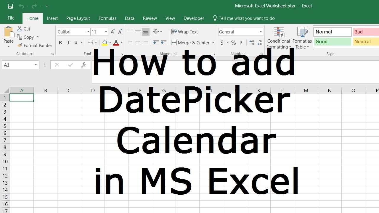 How To Add Datepicker Calendar To Cells In Ms Excel_Calendar Icon In Excel