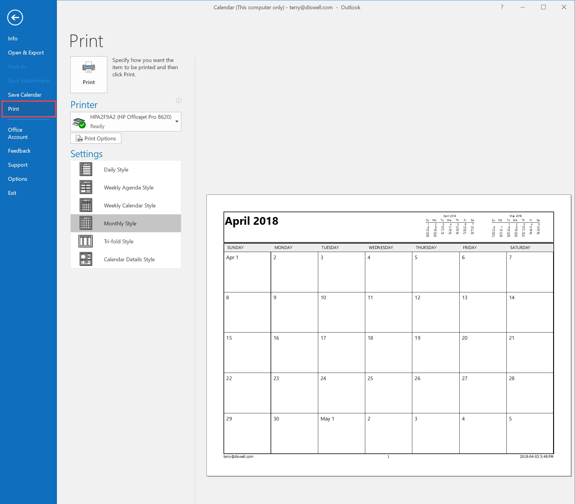 How To Email Or Print Your Calendar In Outlook 2016 - Hostpapa_Outlook Calendar Printing Tools