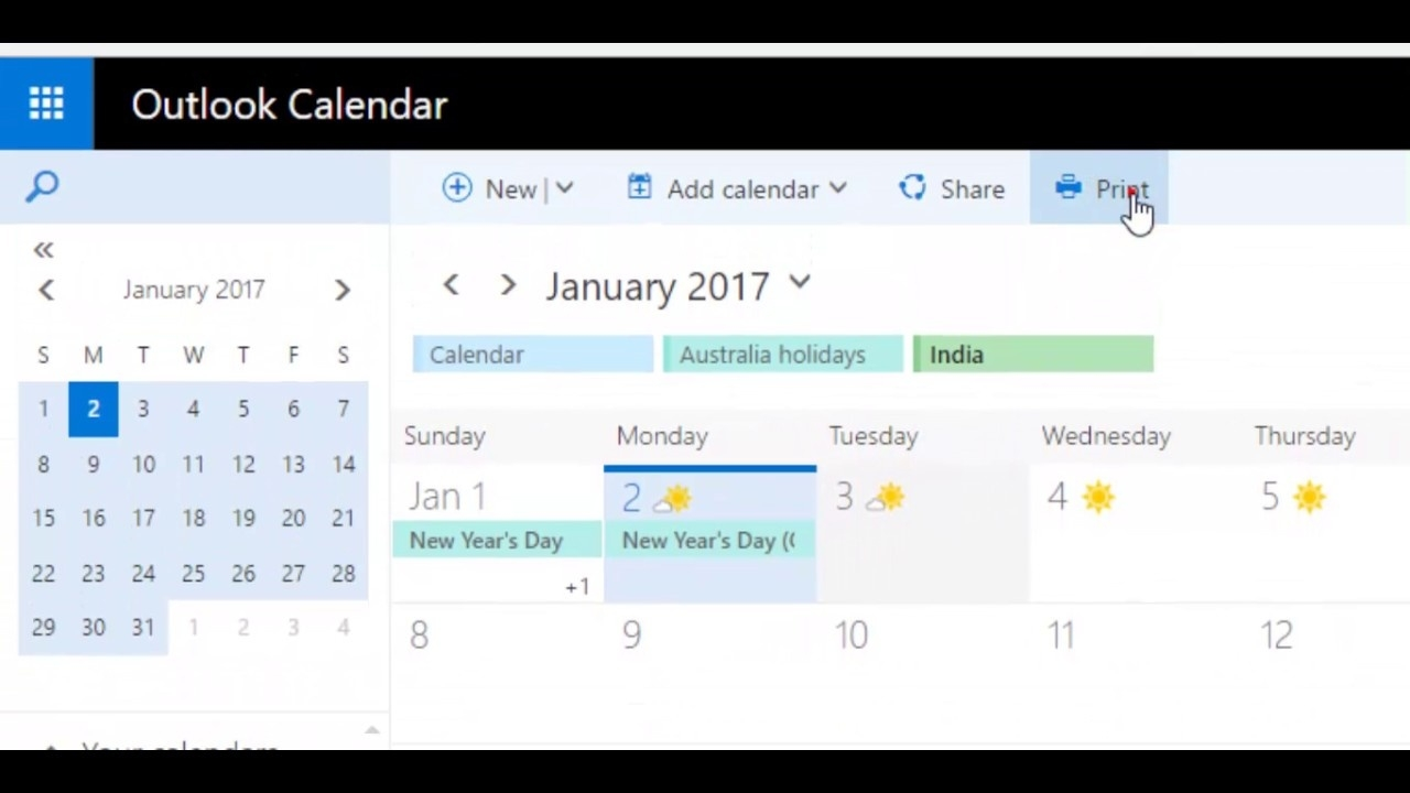 How To Print Calendar With Agenda In Outlook Webmail 365_Calendar Printing Assistant Outlook 365