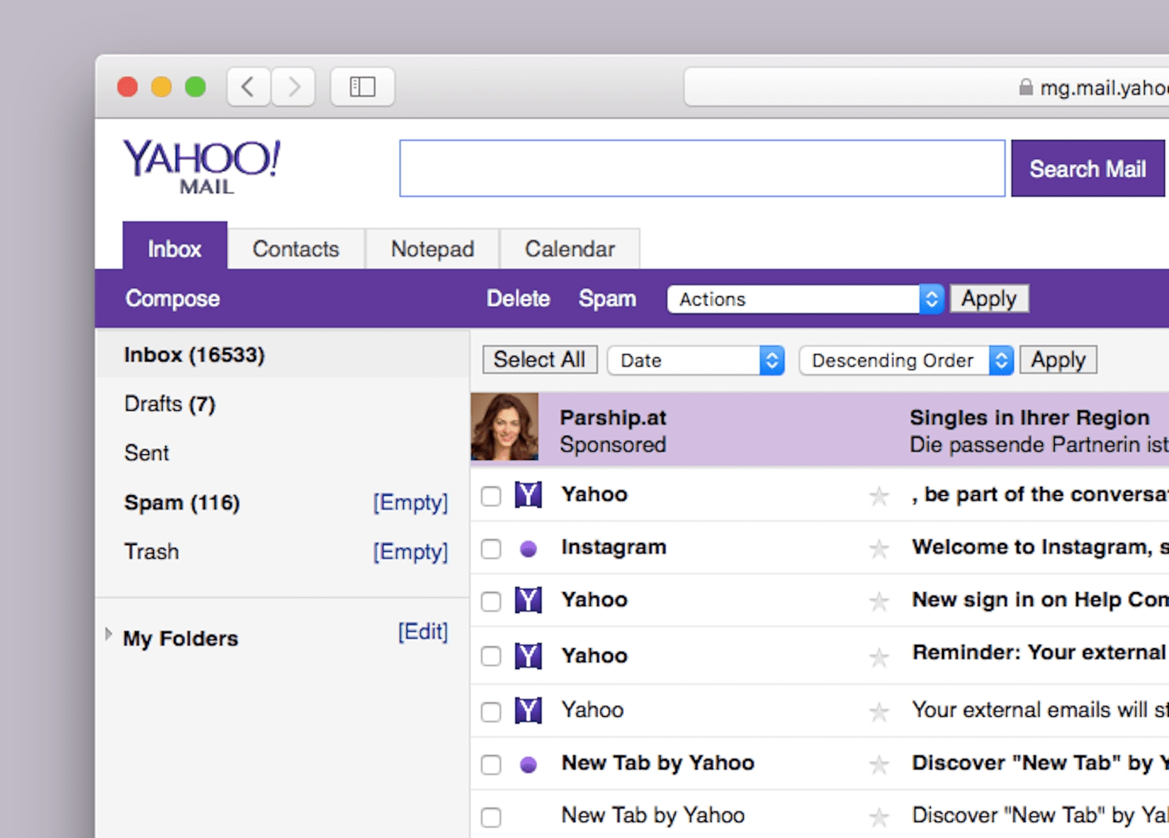 How To Switch To Yahoo Mail Basic_No Calendar Icon In Yahoo Mail