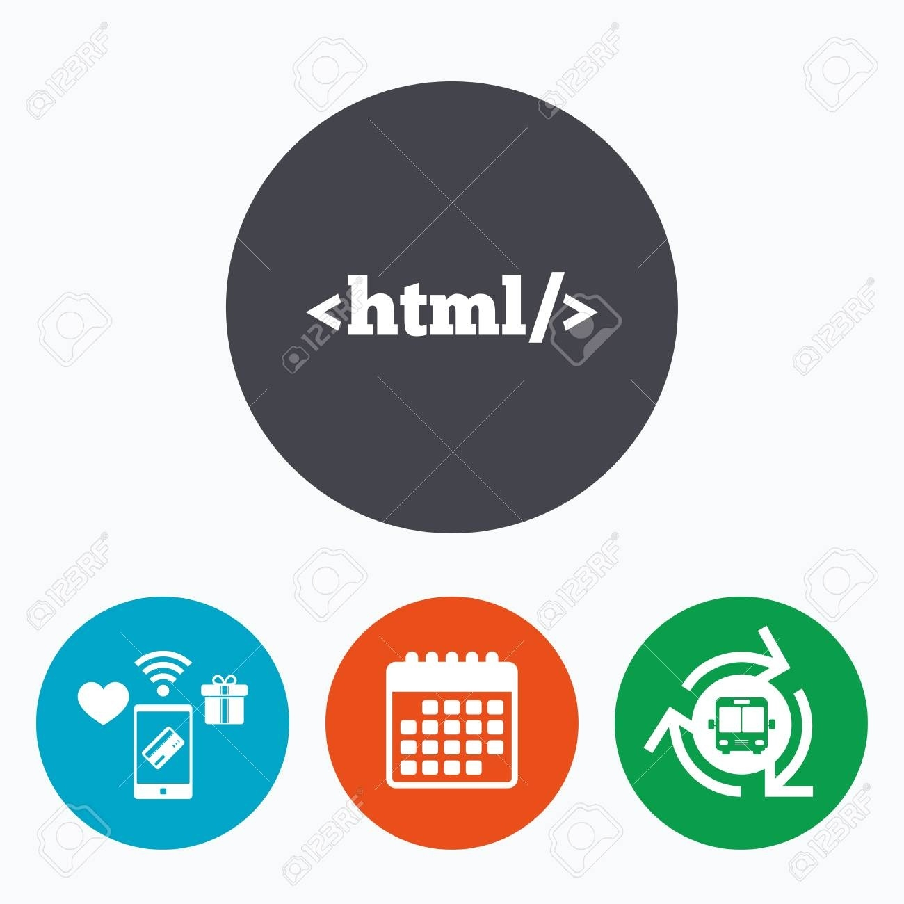 Html Sign Icon. Markup Language Symbol. Mobile Payments, Calendar.._Calendar Icon In Html