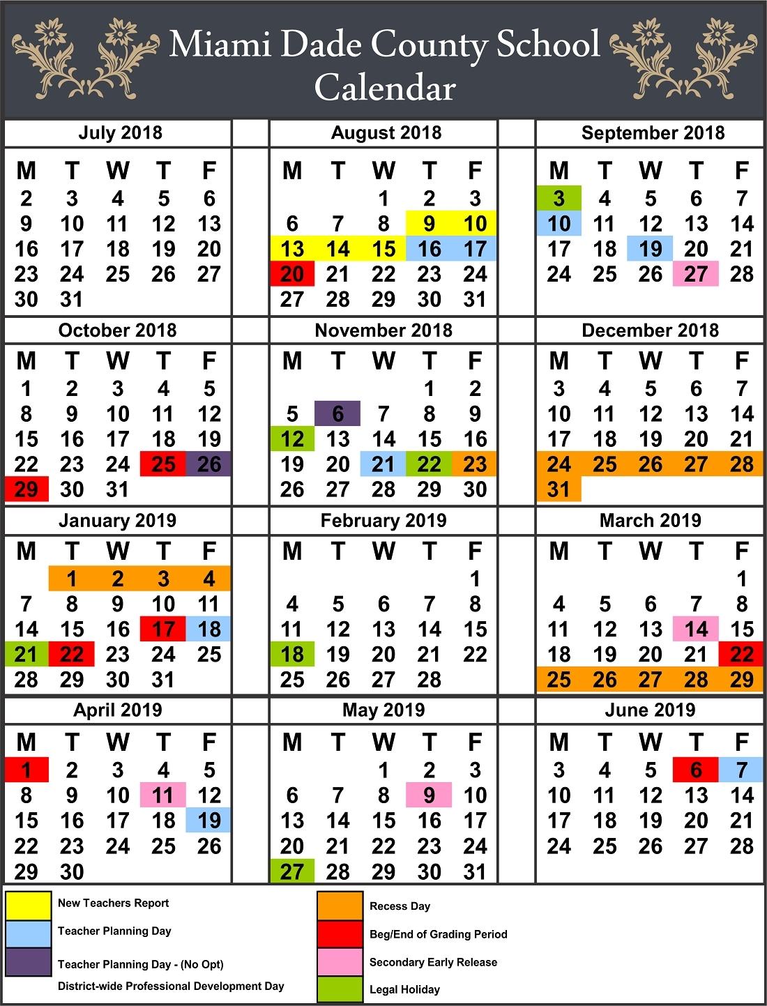 Impressive Calendar School Miami Dade 2019 • Printable Blank_Calendar School Dade 2020