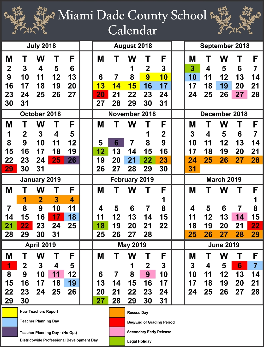 Impressive Calendar School Miami Dade 2019 • Printable Blank_Calendar School Year Miami Dade