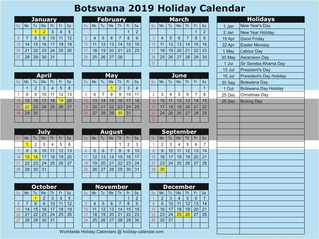 Impressive School Calendar Botswana 2019 • Printable Blank Calendar_School Calendar Of Activities 2020-19