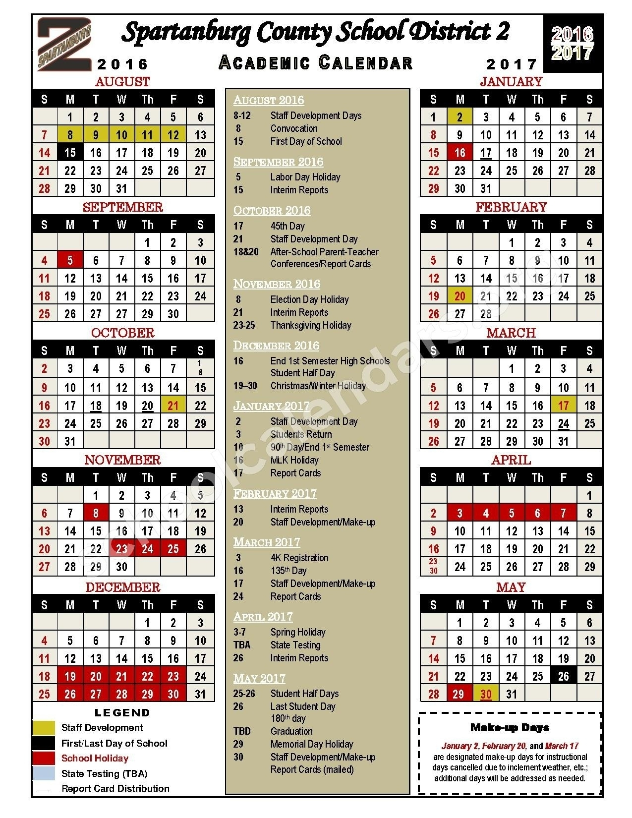 Incredible District 2 School Calendar • Printable Blank Calendar_Spartanburg 6 School Calendar