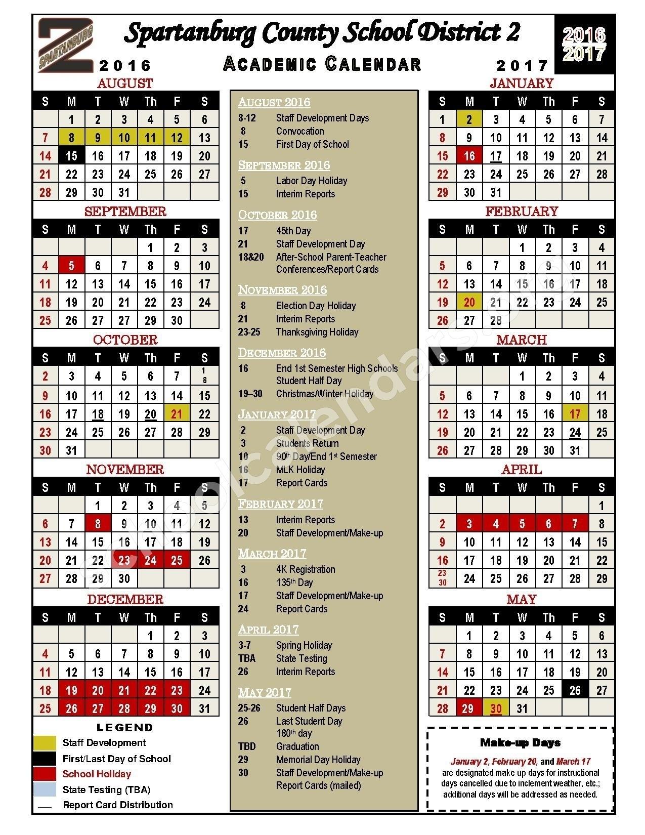 Incredible District 2 School Calendar • Printable Blank Calendar_Spartanburg District 6 School Calendar