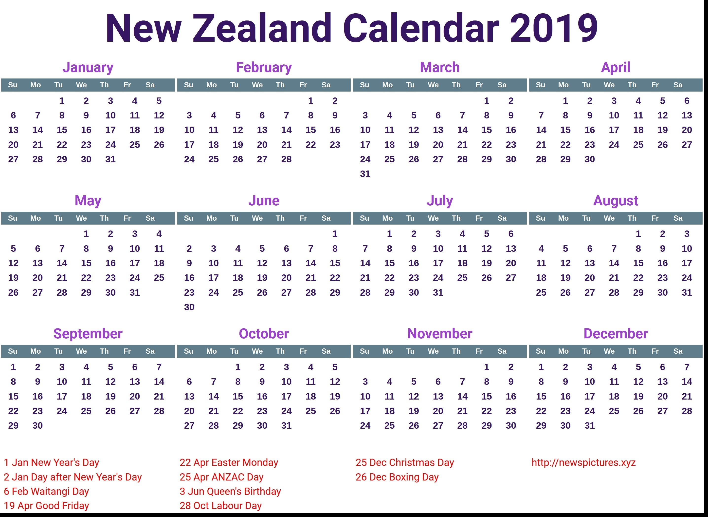 Incredible School Calendar 2019 Nz • Printable Blank Calendar Template_School Calendar 2020 Nz