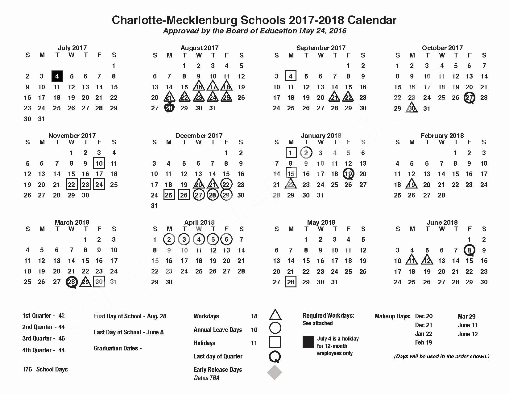Incredible School Calendar Mecklenburg County • Printable Blank_School Calendar Charlotte County