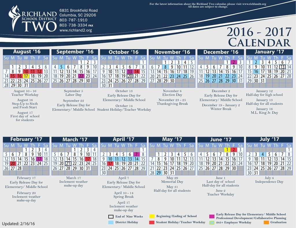 Incredible School Calendar Richland District Two • Printable Blank_School Calendar Richland District Two