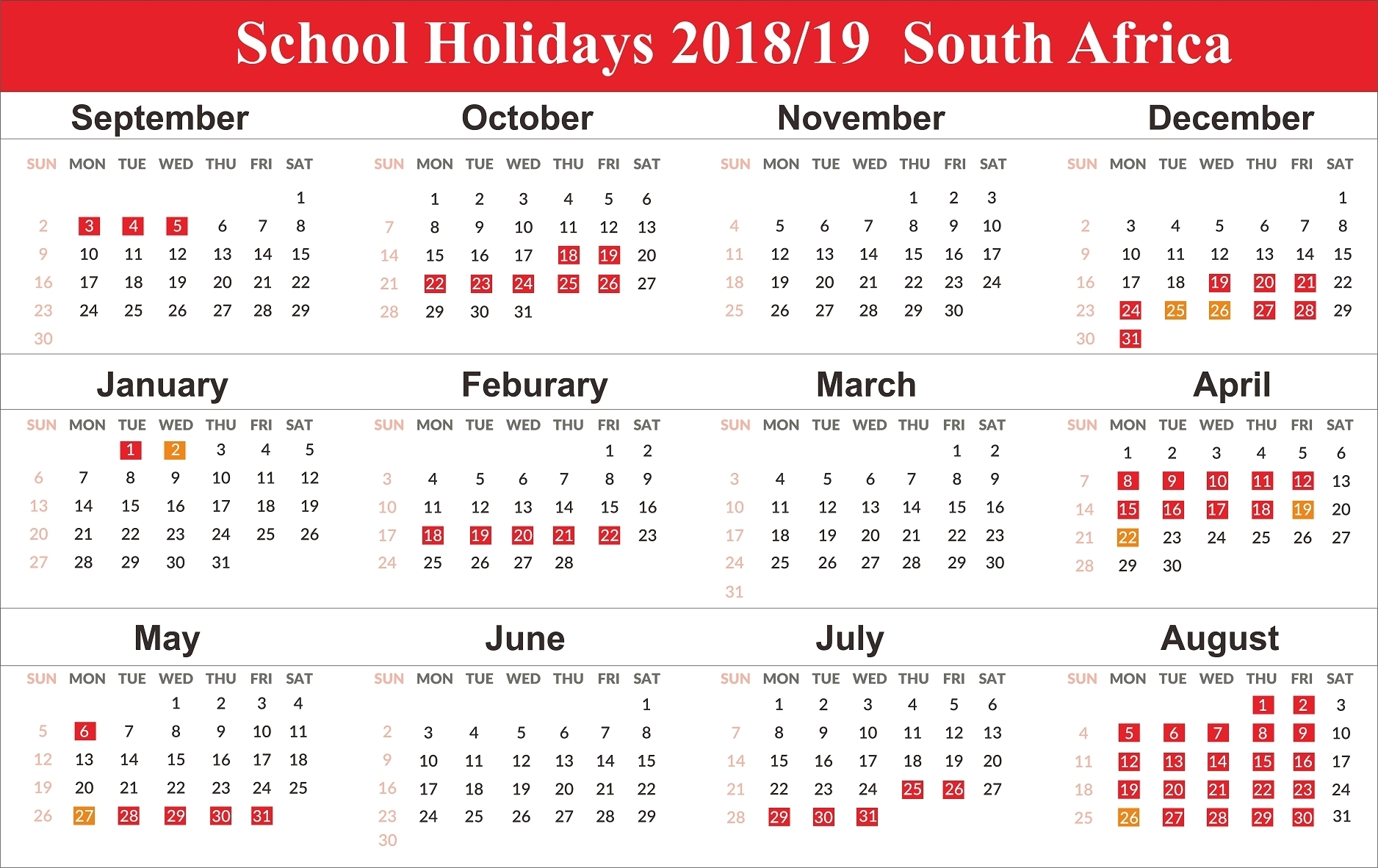 Incredible School Calendar South Africa 2019 • Printable Blank_School Calendar 2020 South Africa