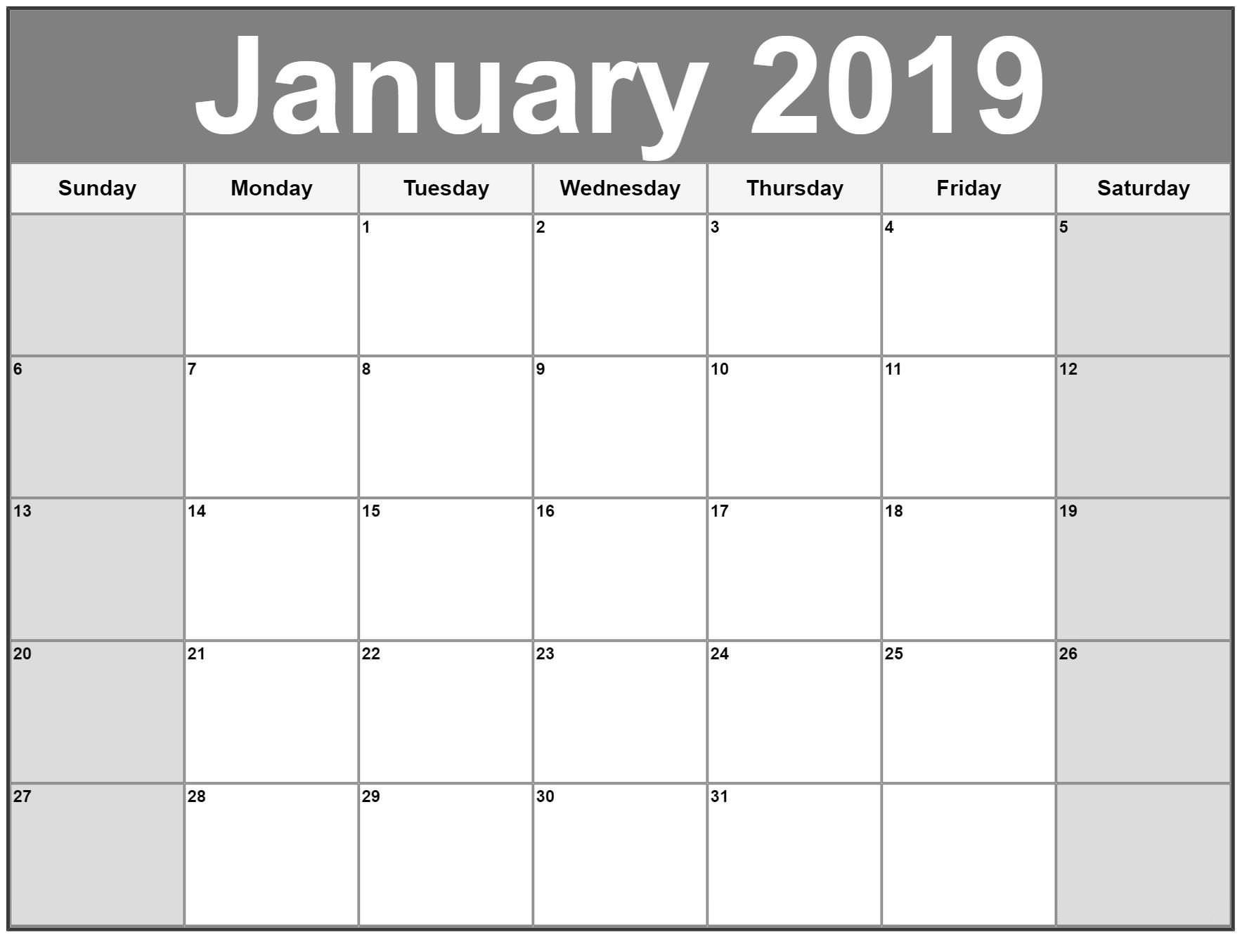 January 2019 Calendar Canada Calendar Template Printablejanuary 2019_Calendar Blank On Iphone
