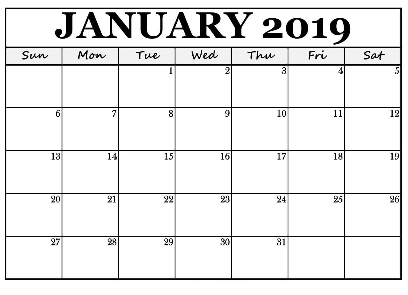 January 2019 Printable Calendar Word  </p>   </div>        <br>     <div class=