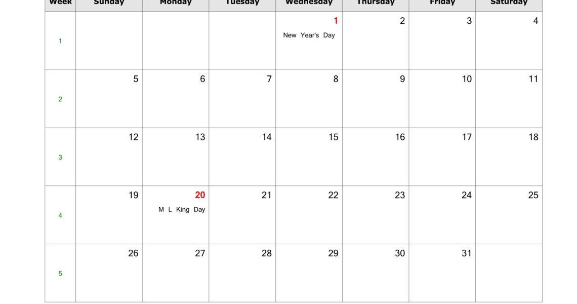 January 2020 Blank Calendar   Free Download Calendar Templates_Calendar Blank Jan 2020