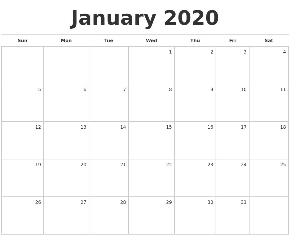 January 2020 Blank Monthly Calendar_Monthly Calendar Blank 2020