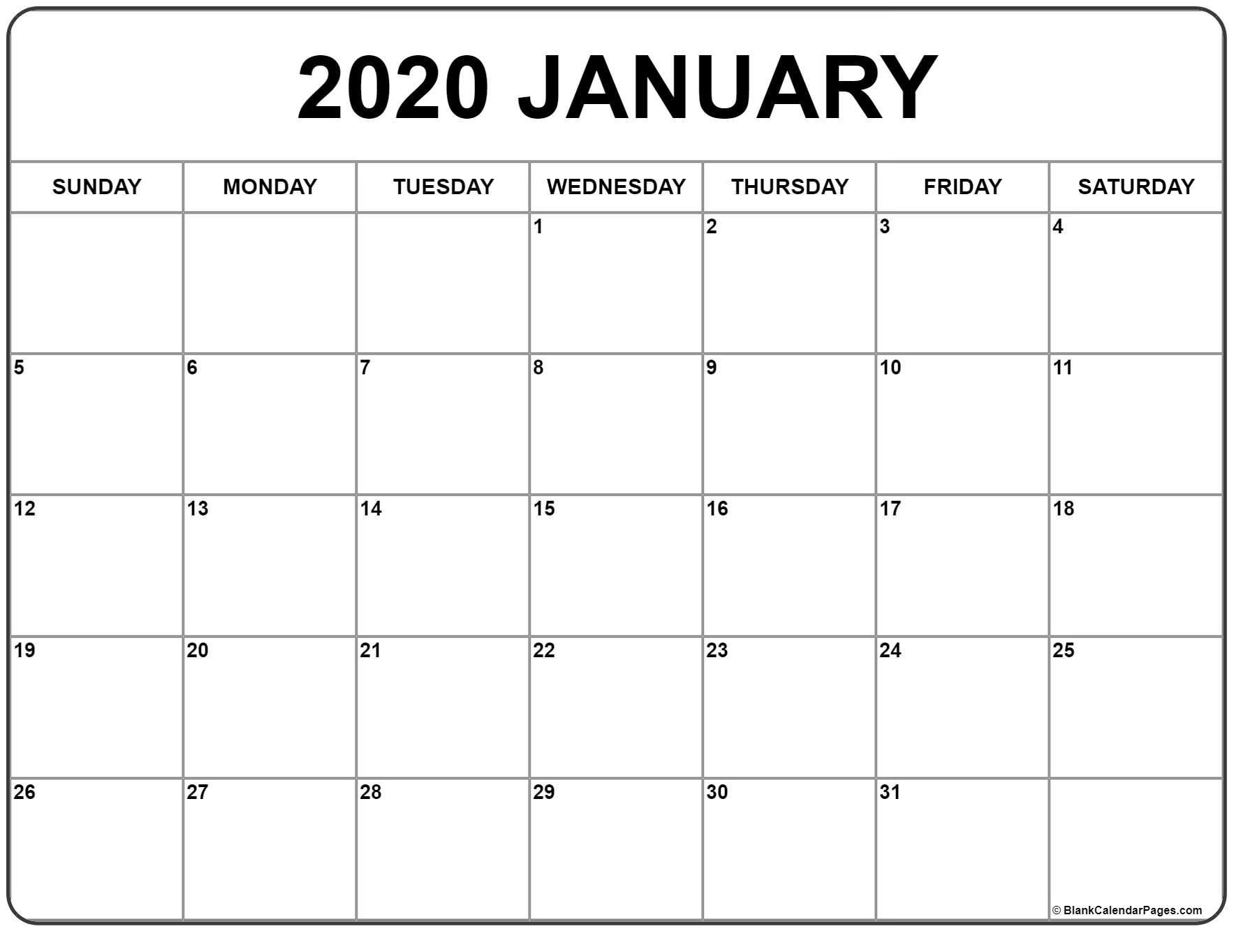 January 2020 Calendar Blank Appointments » Creative Calendar Ideas_Free Calendar Blank 2020