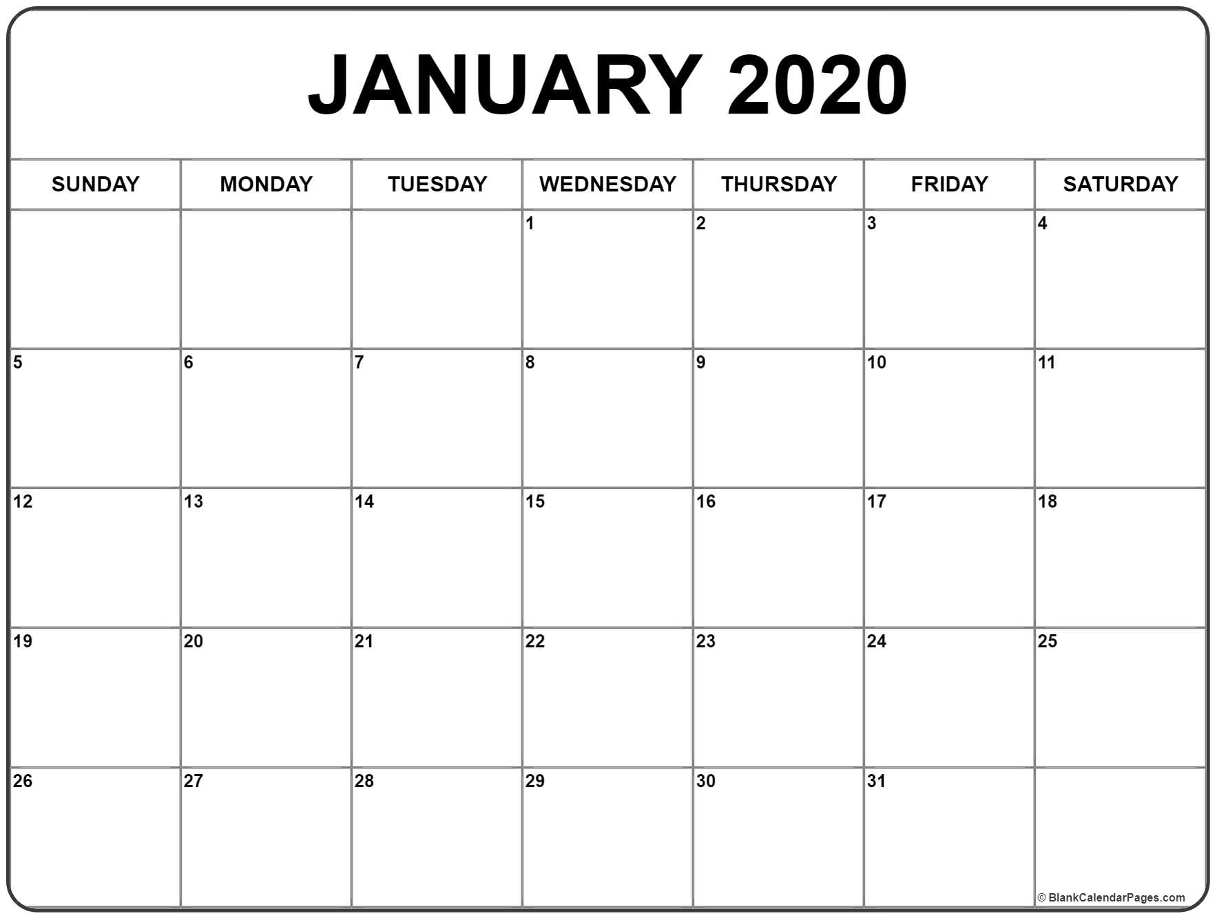 January 2020 Calendar | Free Printable Monthly Calendars_A Blank Calendar For January 2020