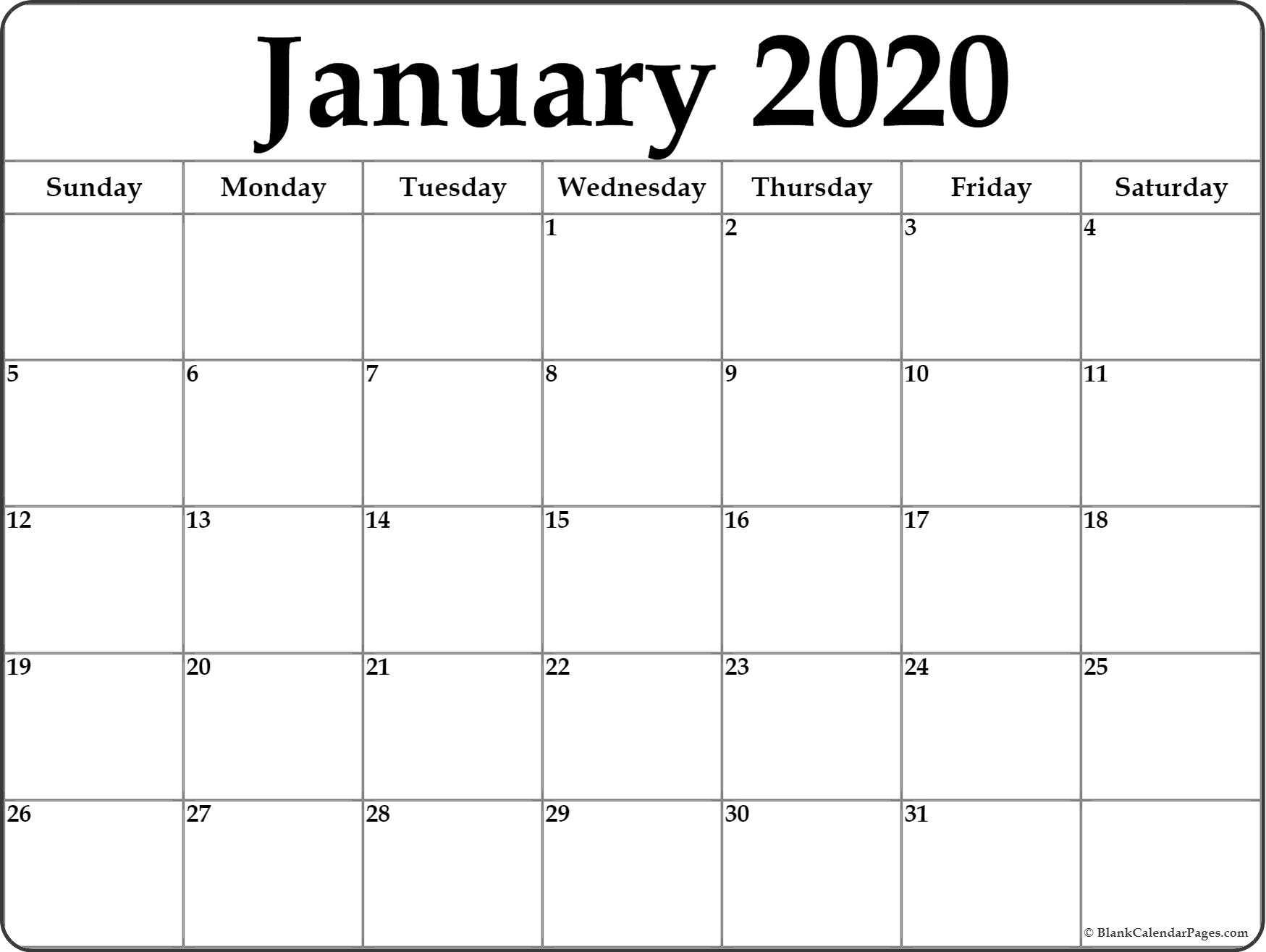 January 2020 Calendar | Free Printable Monthly Calendars_Blank Calendar Template By Month 2020