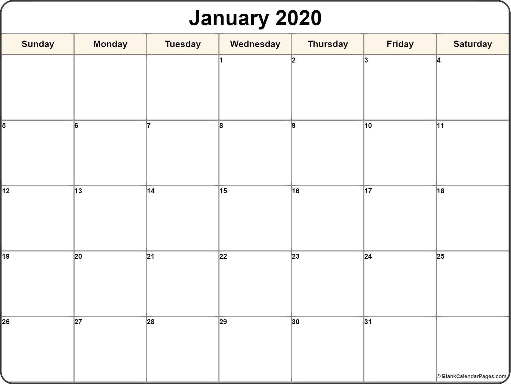 January 2020 Calendar  </p>   </div>        <br>     <div class=