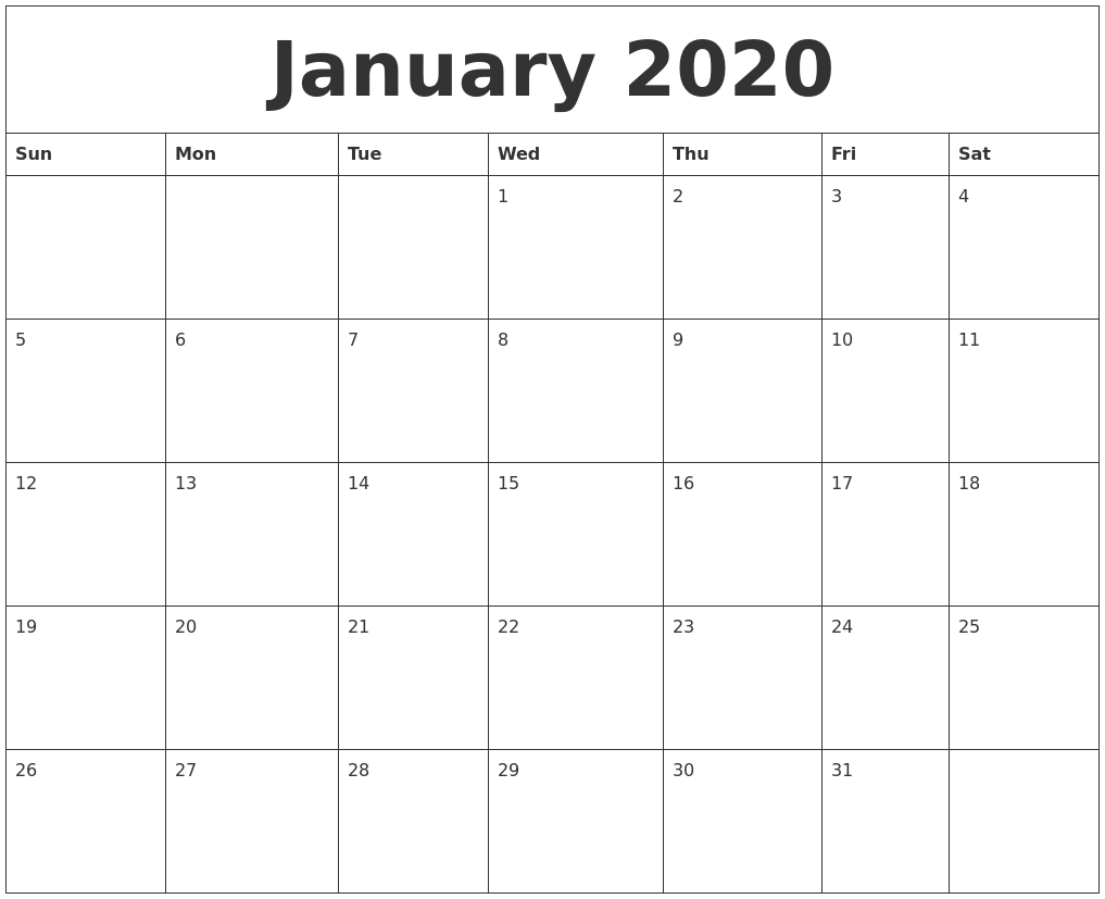January 2020 Editable Calendar Template_A Blank Calendar For January 2020