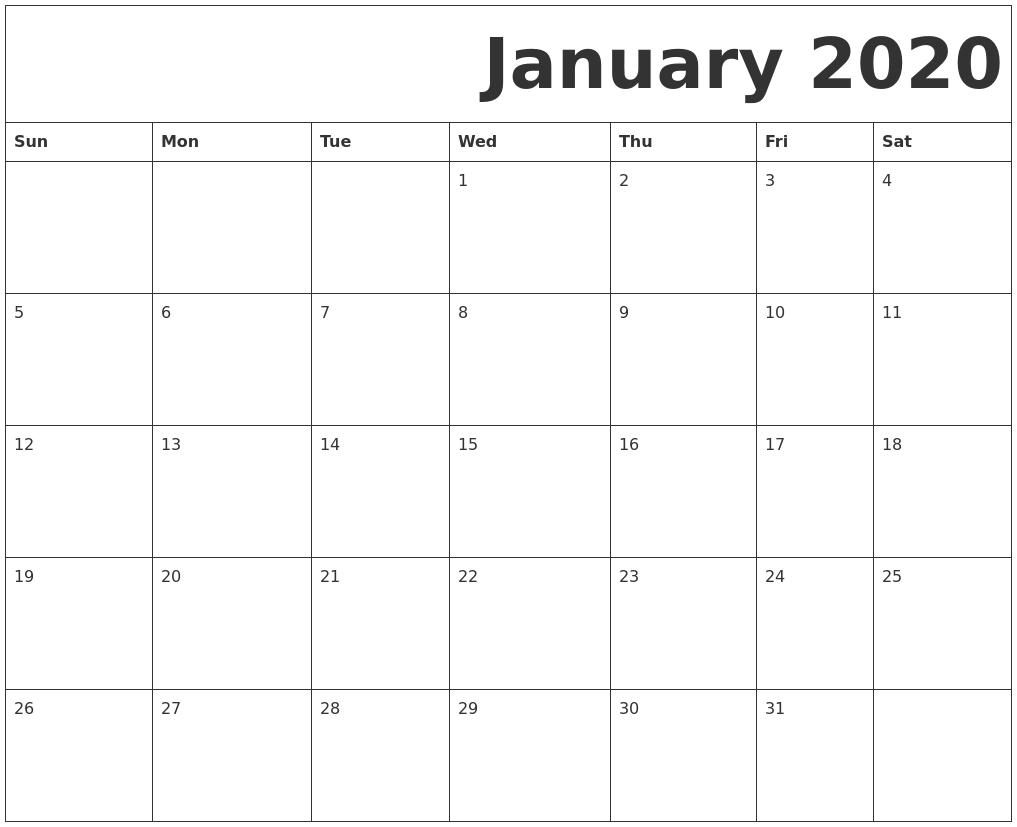January 2020 Free Printable Calendar_Calendar Blank January 2020