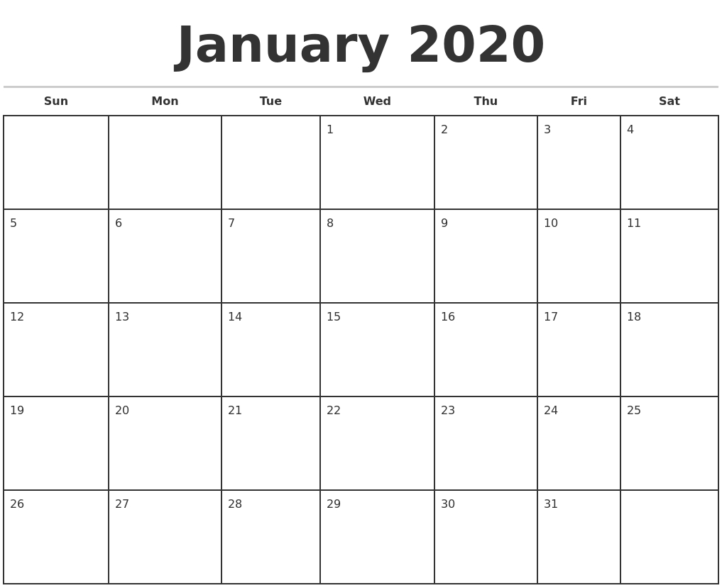 January 2020 Monthly Calendar Template_Blank Calendar Template By Month 2020