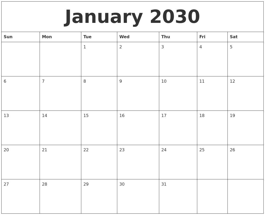 January 2030 Print Online Calendar_Calendar Printing Online Free