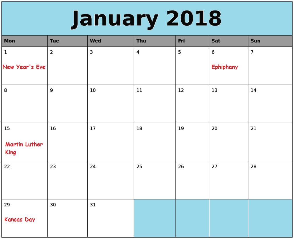 January Us Holidays 2018 Calendar - Free Printable Calendar Templates_Blank Calendar With Us Holidays