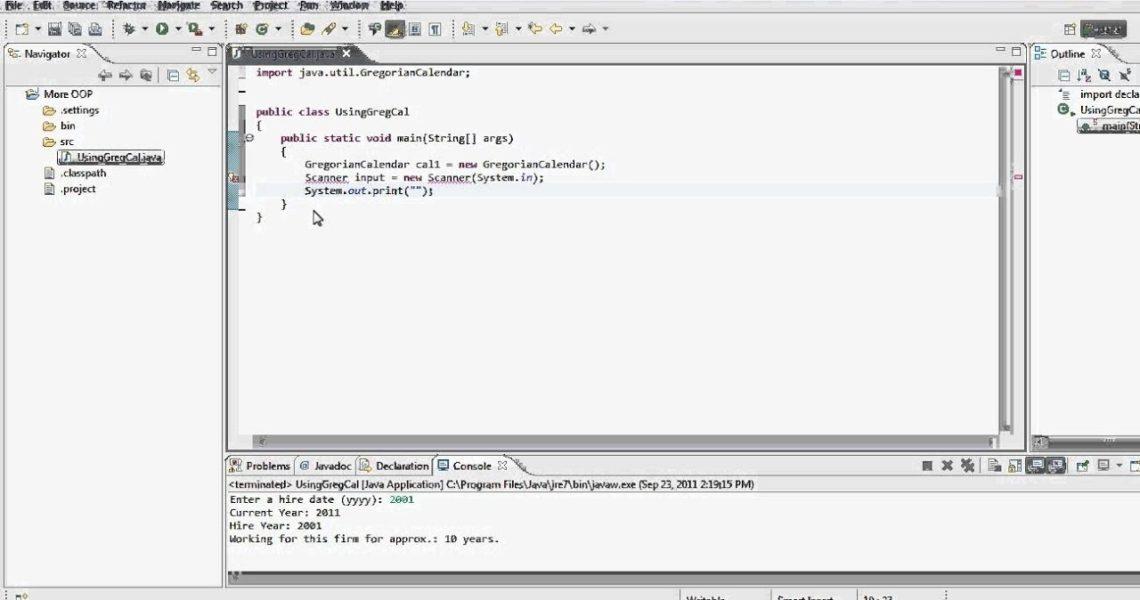 Java Tutorial - Using Gregorian Calendar - Static Vs Non-Static_Printing Gregorian Calendar Java