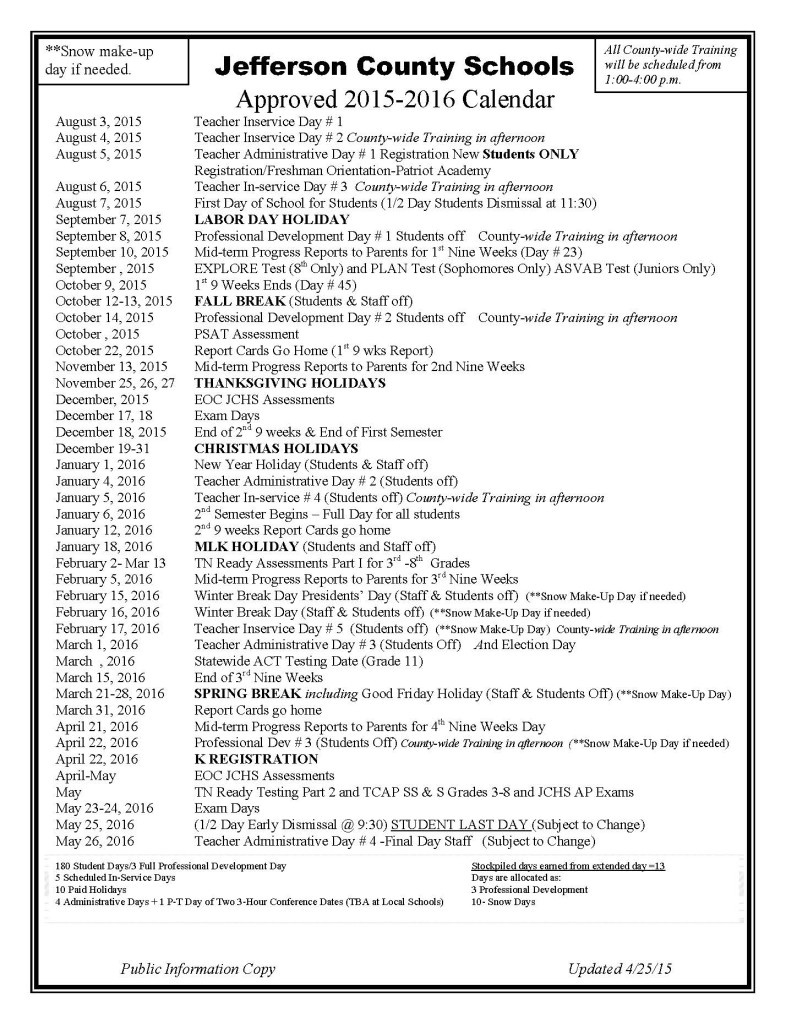 Jefferson County Schools 2015-2016 Calendar  </p>   </div>        <br>     <div class=