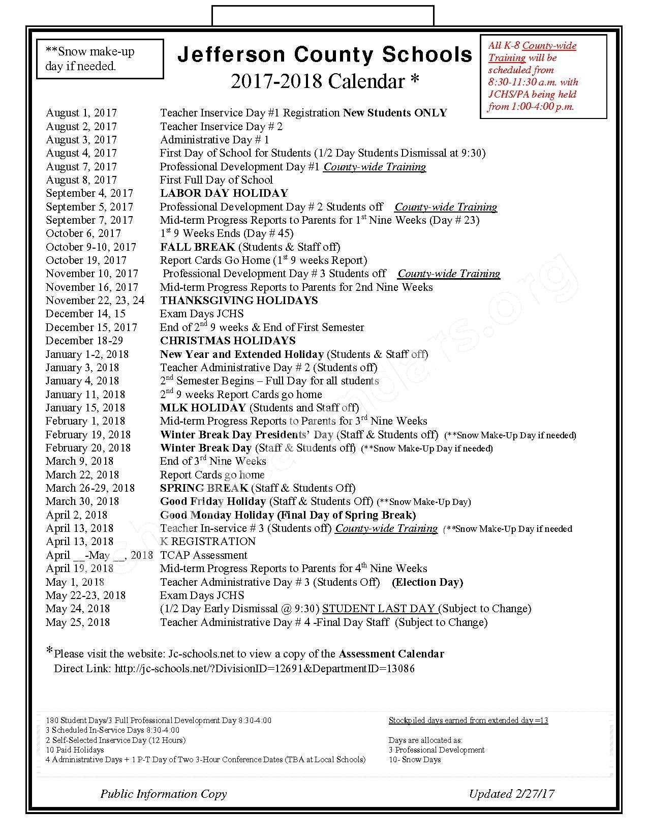 Jefferson County Schools Calendars – Dandridge, Tn_School Calendar Jefferson County Tn
