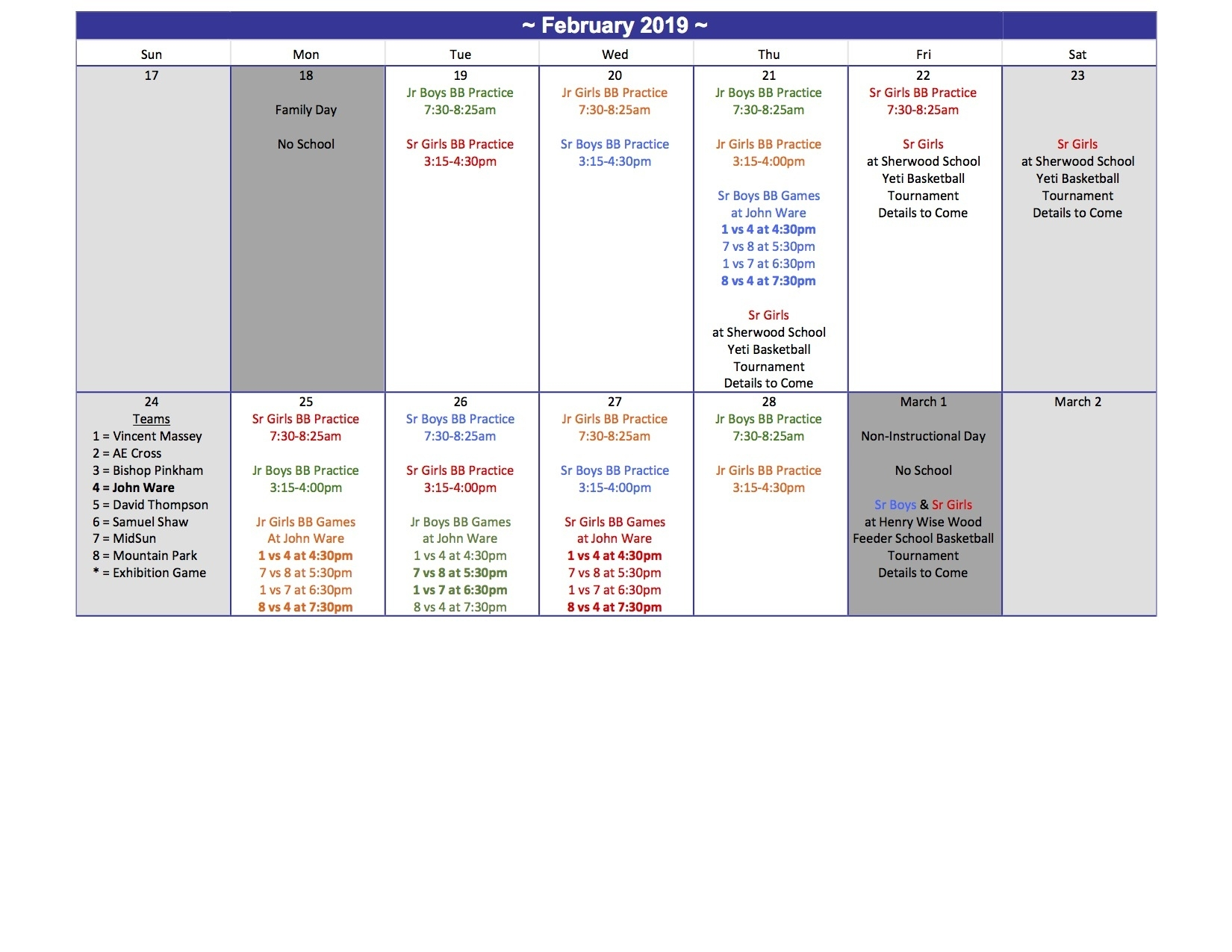 John Ware School_E P Scarlett School Calendar