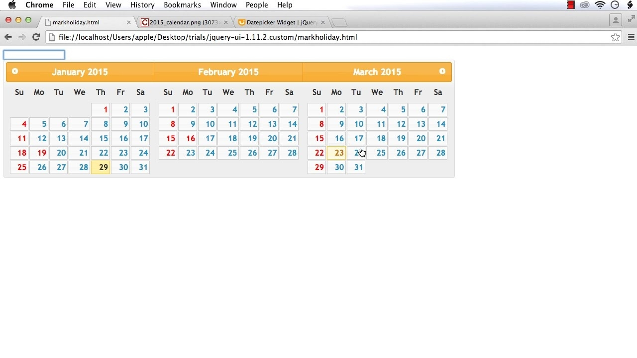 Jquery Ui Datepicker: How To Mark Holidays (Style Some Of The Dates) In  Jquery Ui Date Picker_Jquery Datepicker With Calendar Icon Example