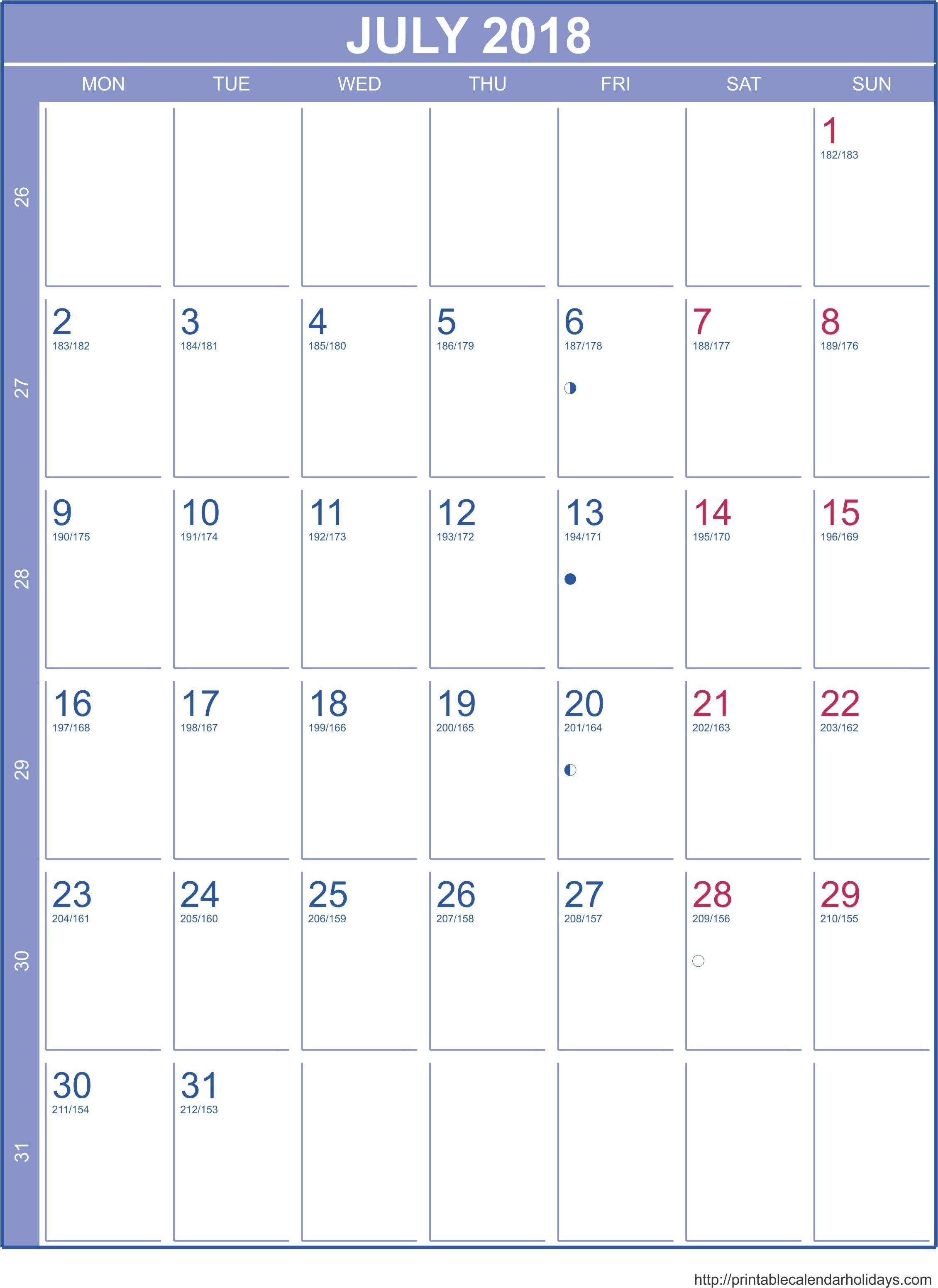 July 2018 Calendar – Template Portrait - Printable 2017 Calendar_Blank Calendar July 17